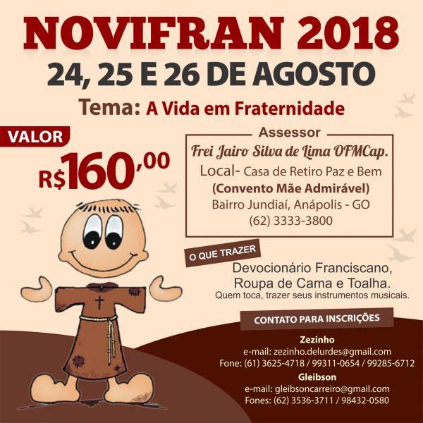 Convento Mãe Admirável (GO) sediará NOVIFRAN 2018